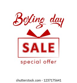 Boxing day sale design with gift box and hand lettering. Suitable for shopping, sale, product promotion. Vector illustration for website or social media banner, email and newsletter designs, poster.