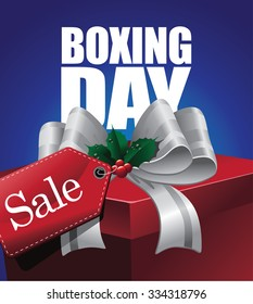 Boxing day sale design with tag and ribbon. EPS 10 vector illustration