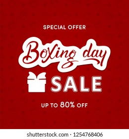 Boxing Day Sale hand lettering square template on red background with gift boxes. Vector illustration for banner, email and newsletter designs, poster, lables, tags. For Christmas sales, fairs. EPS 10