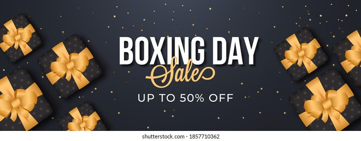 Boxing Day Sale Header Or Banner Design With 50% Discount Offer And Top View Gift Boxes On Grey Background.