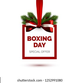 Boxing day sale illustration. Sale sticker with bow and christmas tree branches