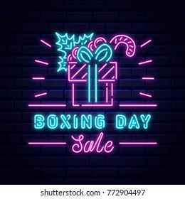 Boxing Day sale neon illustration. Brick wall background
