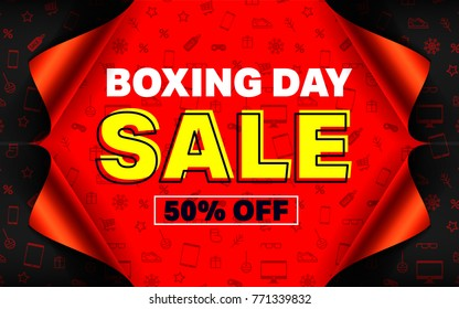 Boxing day sale Poster or banner with open gift wrap paper and shopping icons concept.Vector illustration EPS10