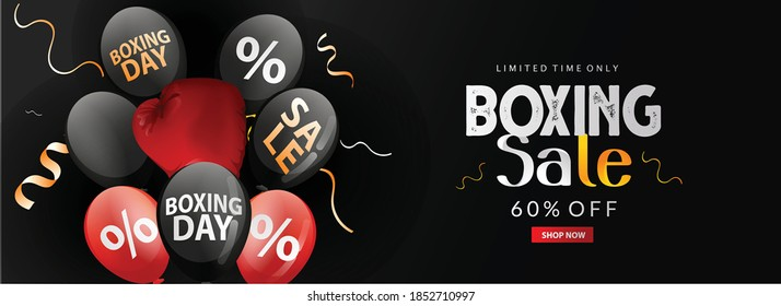 Boxing Day Sale Poster Design With Discount Offer with Gift Boxes