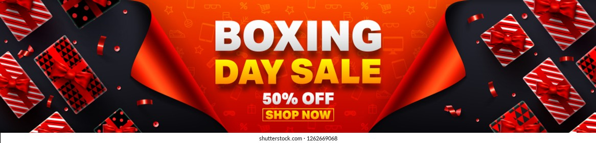 Boxing Day Sale Promotion Poster or banner with open gift wrap paper concept.Special offer 50% off sale.Promotion and shopping template for Boxing Day Sale.Vector EPS10