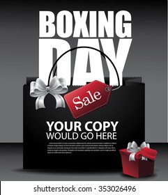 Boxing Day Sale shopping bag background. EPS 10 vector illustration.