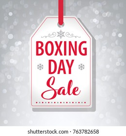 Boxing Day Sale Tag Label on Gray Background - Vector illustration
