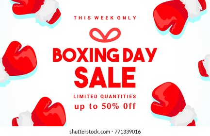 Boxing day Sale vector illustration, Typography combined in a shape of gift box with boxing gloves