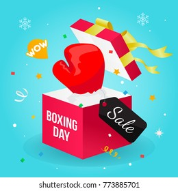 Boxing day Sale vector illustration, Boxing glove in a gift box with confetti
