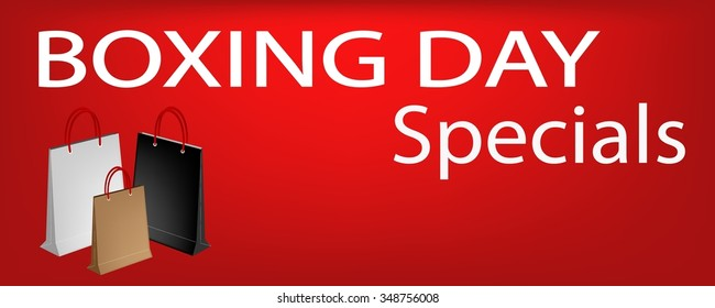 Boxing Day Special on Red Banner with Paper Shopping Bags, Sign for Start Christmas Shopping Season.