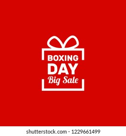 Boxing day, sticker, illustration vector, flat box silhouette, surprise bow