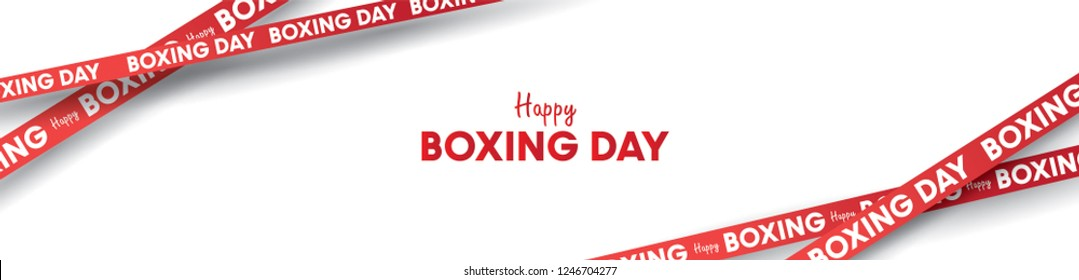 Boxing day vector illustration.Typography combined in a shape of ribbon and text with paper art and craft style