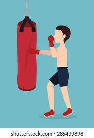Boxing design over blue background, vector illustration.