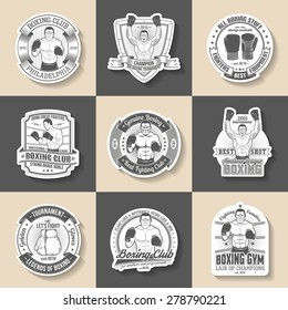 Boxing emblem, sticker, label, logo - set of 9 vector images in old-school vintage style.