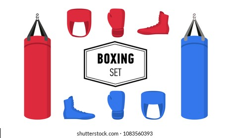 Boxing equipment tools set. Box accessories. Red and blue punch bags, boxing gloves, Helmet and shoes. Isolated flat vector cartoon illustration