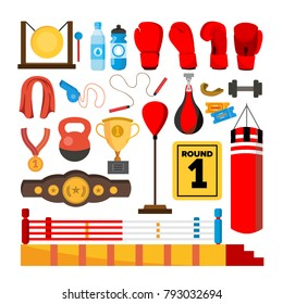 Boxing Equipment Tools Set Vector. Box Accessories. Boxer, Ring, Belt, Punch Bags, Red Gloves, Helmet. Isolated Flat Cartoon Illustration