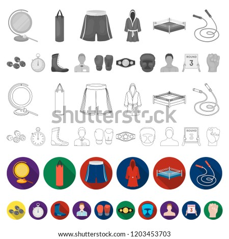 86c393770 Boxing extreme sports flat icons in set collection for design. Boxer and  attributes vector symbol