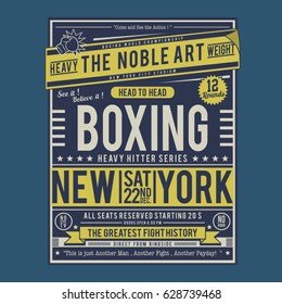 Boxing fight poster typography, tee shirt graphics, vectors