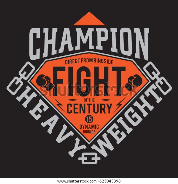 Boxing Fight Sport Typography Tee Shirt Stock Vector
