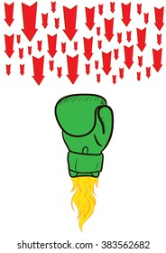 Boxing glove against arrows