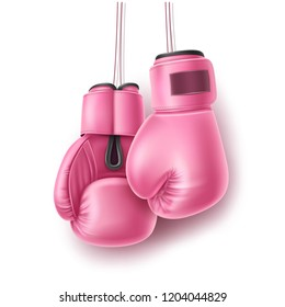 Boxing glove hanging on lace. Realistic pink pair of box fist protection equipment. Vector boxer sportswear for punch workout. Symbol of fight, combat, competition and confidence. 3d illustration