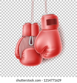 Boxing glove hanging on lace. Realistic red pair of box fist protection equipment. Vector boxer sportswear for punch workout. Symbol of fight, combat, competition and confidence Transparent background