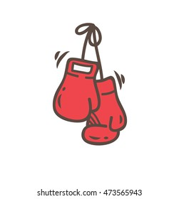 Boxing glove icon in doodle style