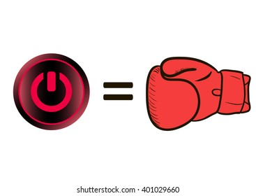 Boxing glove and icon switching off