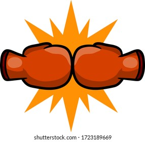 Boxing glove. Yellow sign of impact.