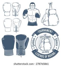 Boxing gloves, boxer - vintage vector image. Retro sport logo.