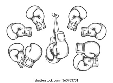 Boxing gloves. Equipment for fight competition, hanging and protection hand. Vector illustration
