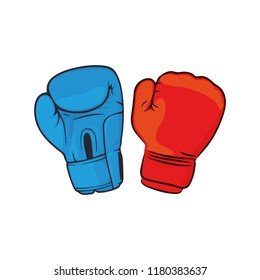 Boxing gloves fight icon, red vs blue. Battle emblem cartoon vector illustration.