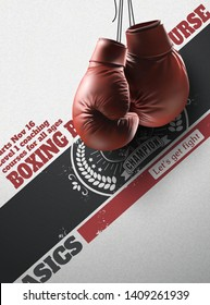 Boxing gloves hanging in the air on retro poster, 3d illustration