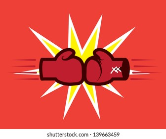 Boxing gloves hitting together with explosive background