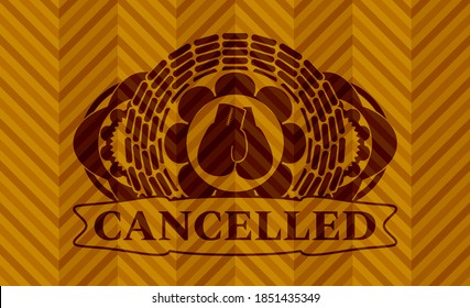 boxing gloves icon and Cancelled text orange color badge. Geometric classic background. Illustration.
