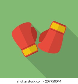 Boxing gloves icon. Modern Flat style.