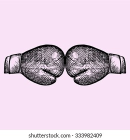 boxing gloves, mitt, mitten, doodle style, sketch illustration, hand drawn, vector
