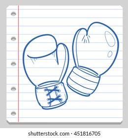 Boxing Gloves Notebook School Doodle Icons Hand Made