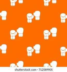 Boxing gloves pattern repeat seamless in orange color for any design. Vector geometric illustration