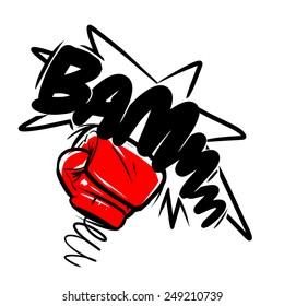 boxing gloves punch. cartoon illustration