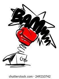 boxing gloves punch. cartoon illustration