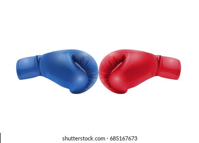 Boxing gloves Red and Blue hitting together isolated on white background, vector illustration.
