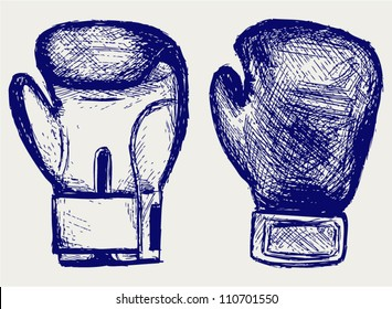 Boxing gloves. Sketch