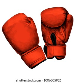 Boxing gloves sketch vector graphics color picture