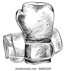 Boxing gloves sketch vector illustration