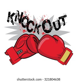 "Boxing Gloves And Text ""Knock Out"" Vector Illustration. Red Boxing Gloves Drawing."
