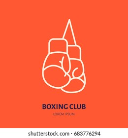 Boxing gloves vector line icon.