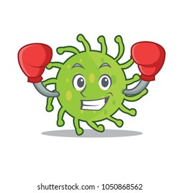 Boxing green bacteria character cartoon