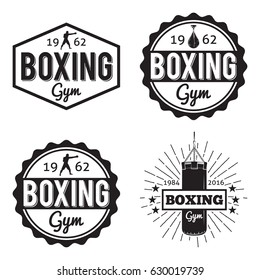 Boxing gym and martial arts hipster logos badges/labels set in vintage style