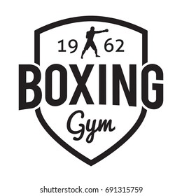 Boxing gym and martial arts hipster logos badge/label in vintage style with boxer